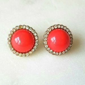 Jewelry - Coral button earrings with sparkle border